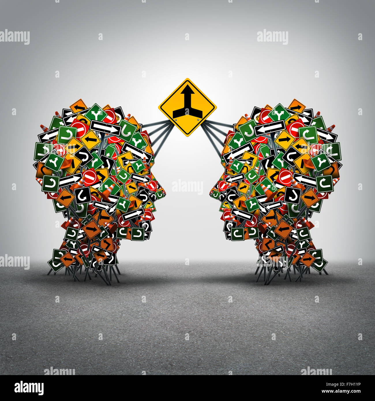 Agreement business concept as two groups og traffic signs shaped as a human head connected together by a big signage - Stock Image