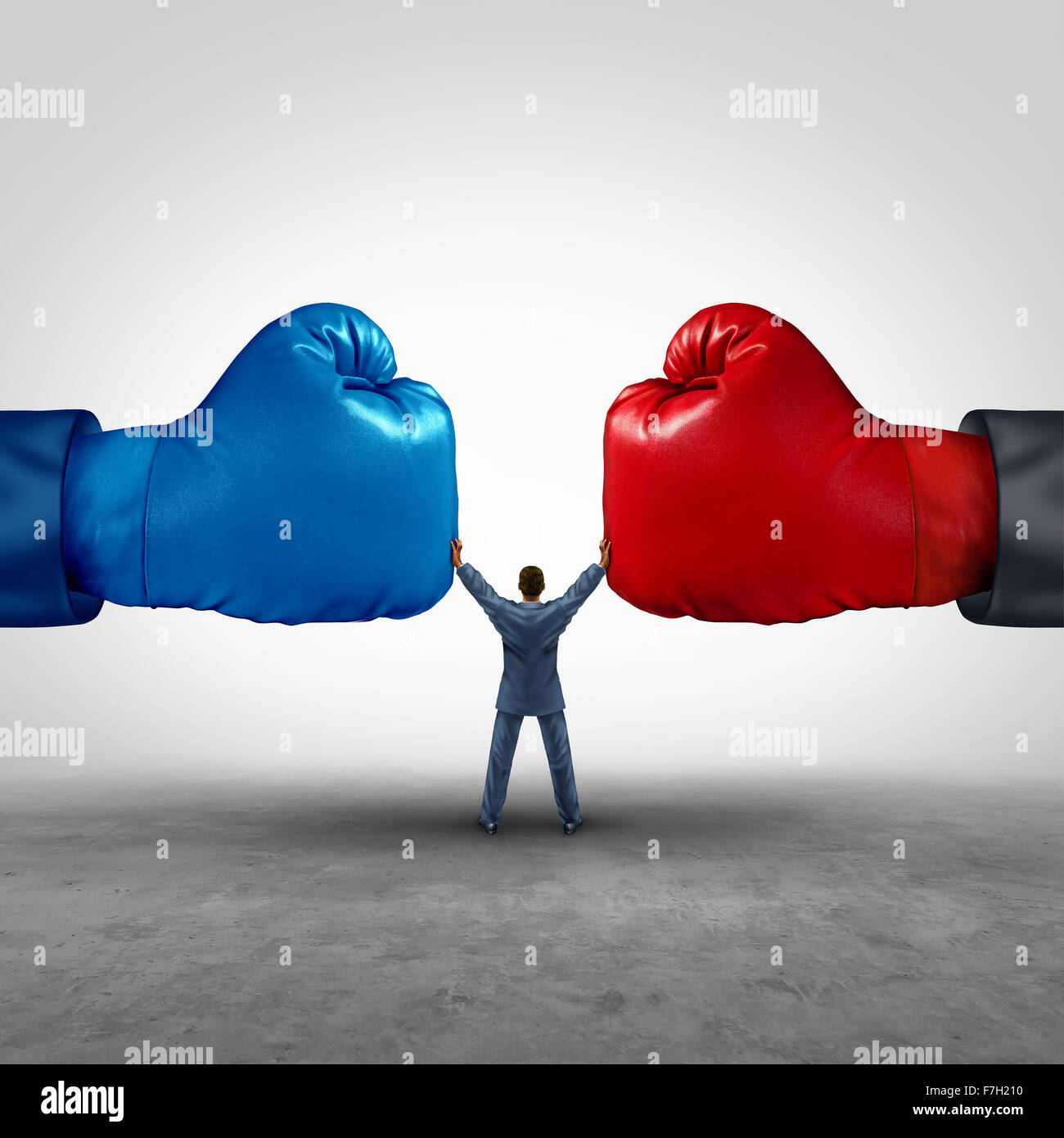 Mediate and legal mediation business concept as a businessman or person separating two boxing glove opposing competitors - Stock Image