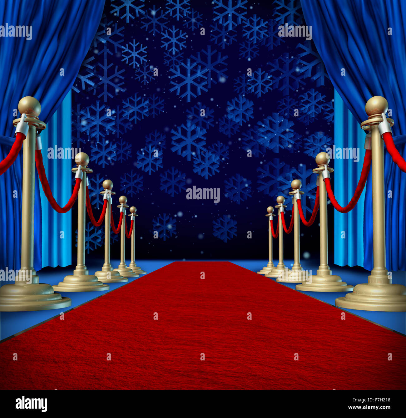 Winter red carpet background as a catwalk or runway in an auditorium stage with snowflakes falling down as a seasonal Stock Photo
