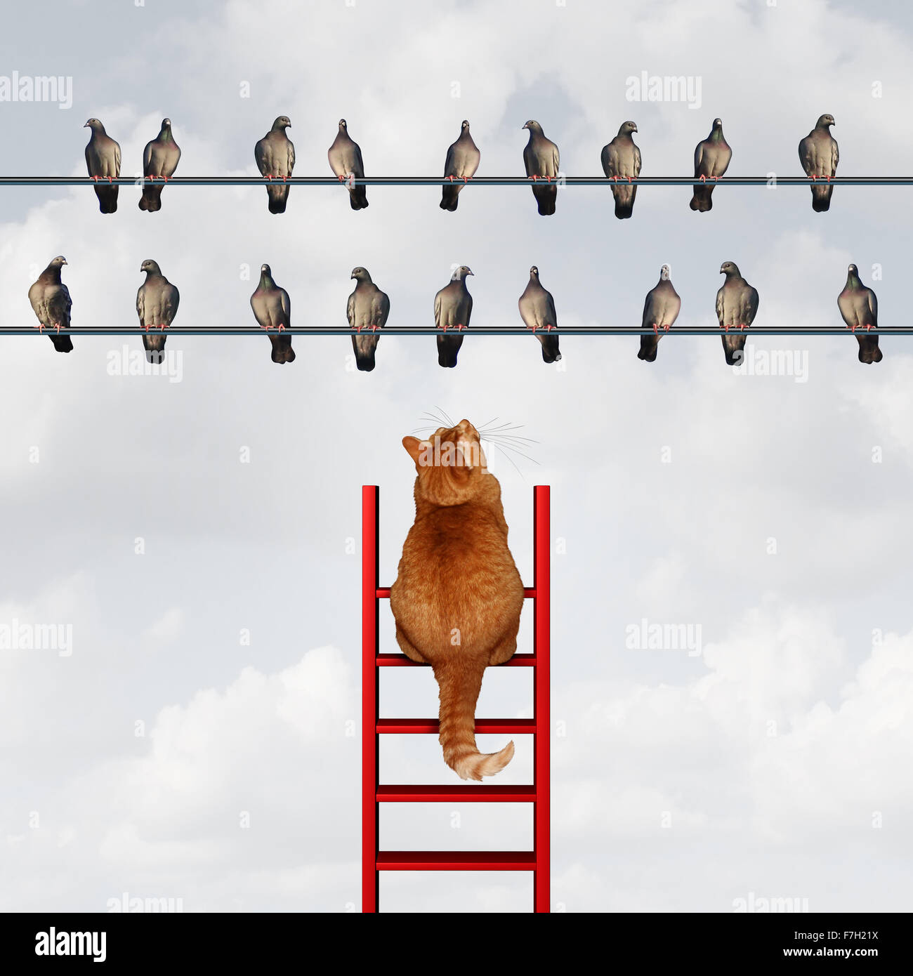 Reaching your goal concept and setting goals business metaphor as a cat climbing a ladder to reach a group of birds - Stock Image