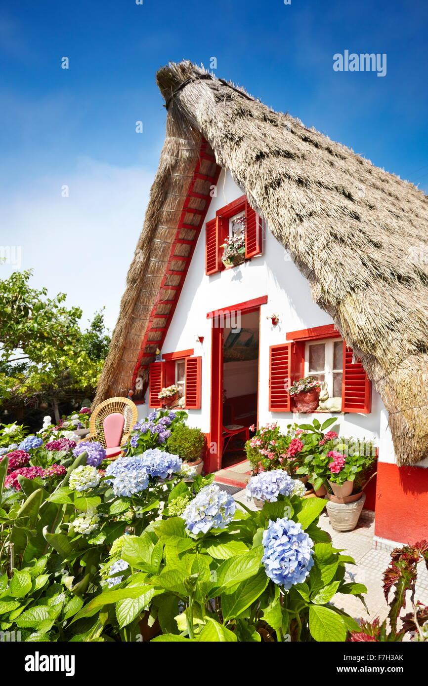 Santana Traditional home palheiros - Madeira Island, Portugal - Stock Image