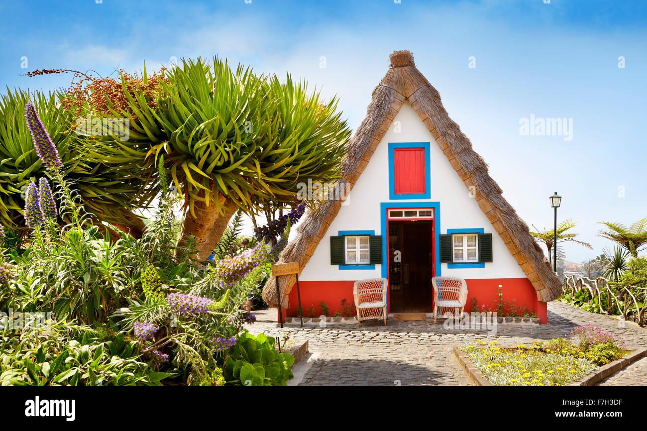 Traditional home palheiros - Santana, Madeira Island, Portugal Stock Photo