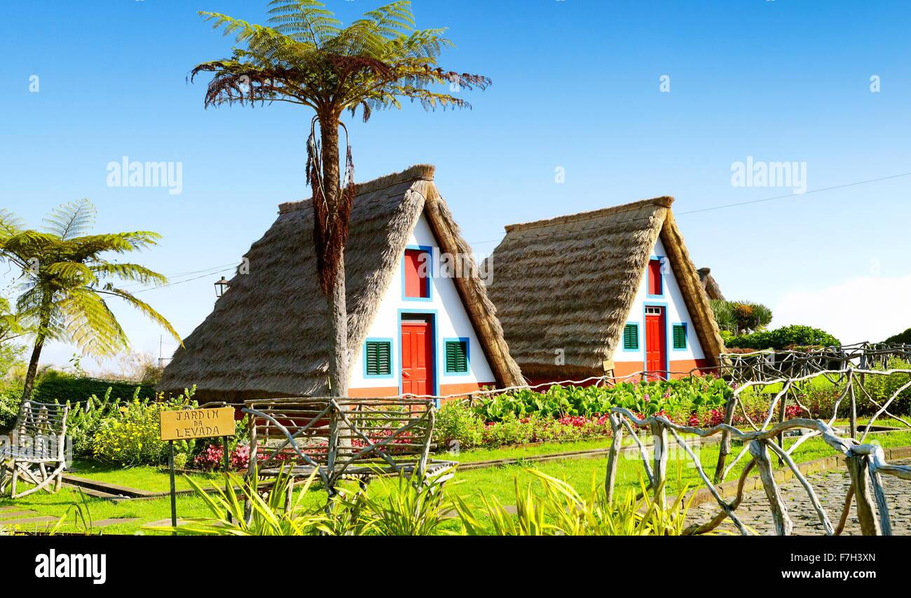 Traditional home palheiros - Santana, Madeira Island, Portugal - Stock Image