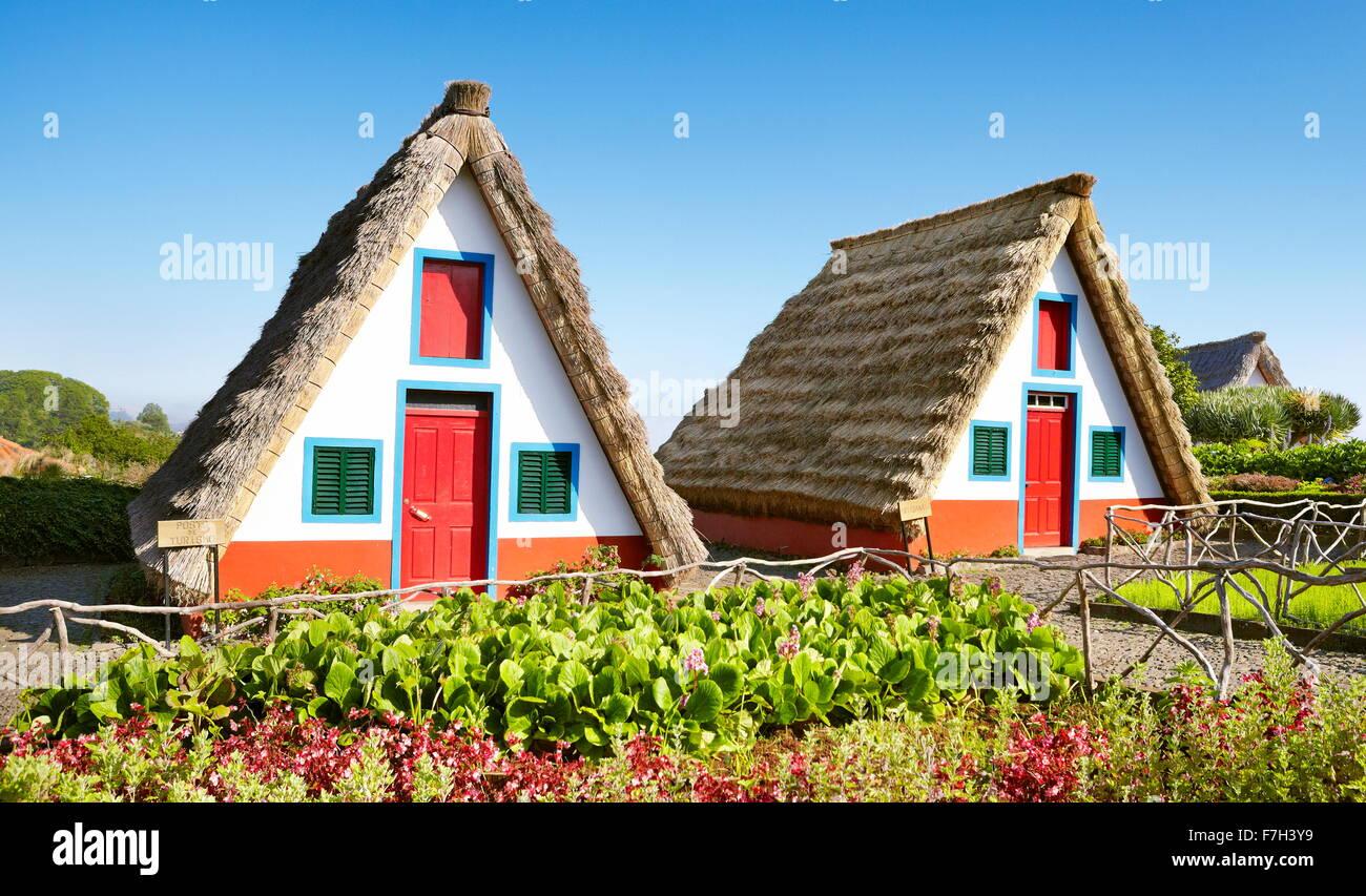 Santana - traditional home palheiros - Madeira Island, Portugal Stock Photo