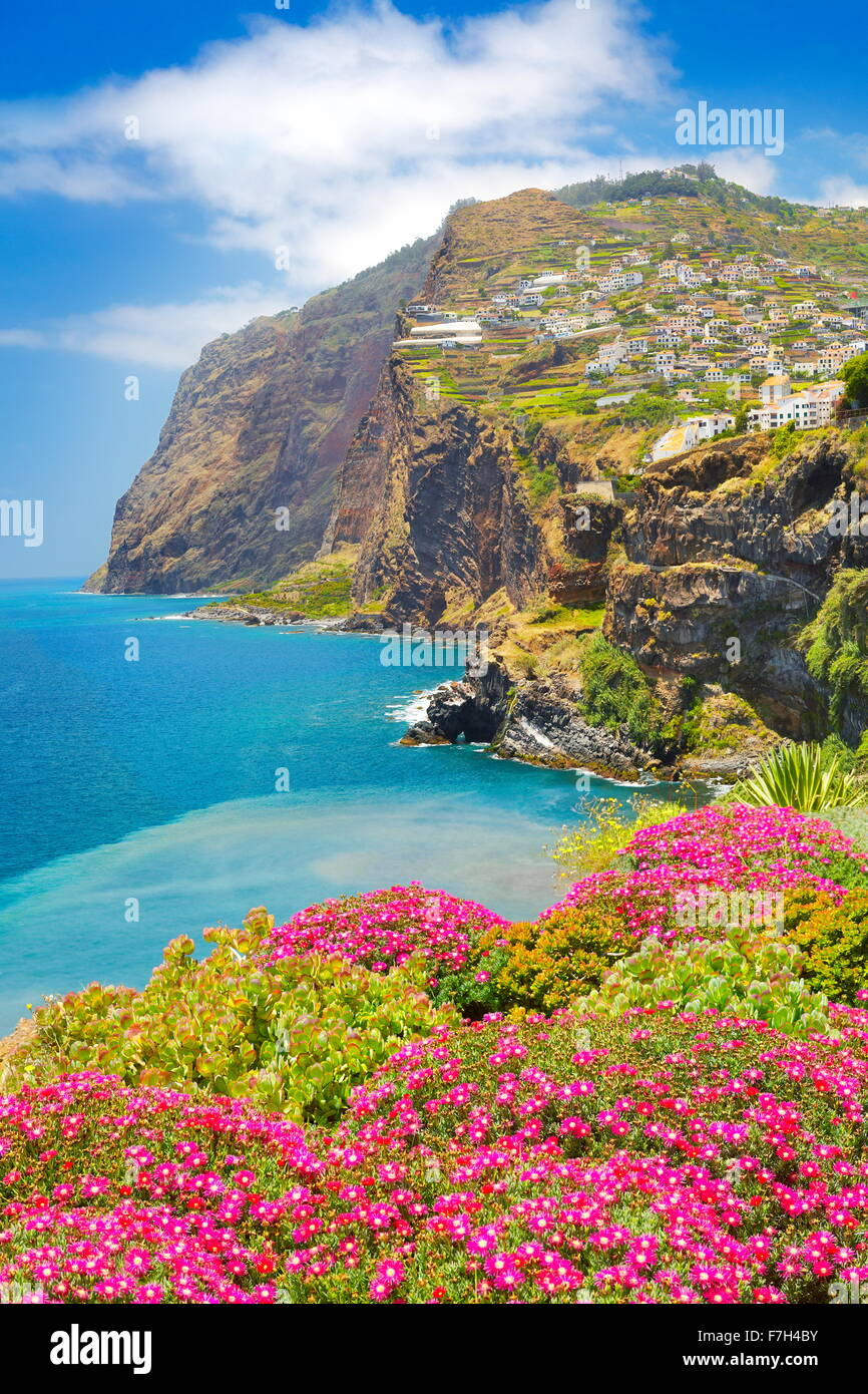 View at Cabo Girao Cliff - Camara de Lobos, Madeira island, Portugal - Stock Image