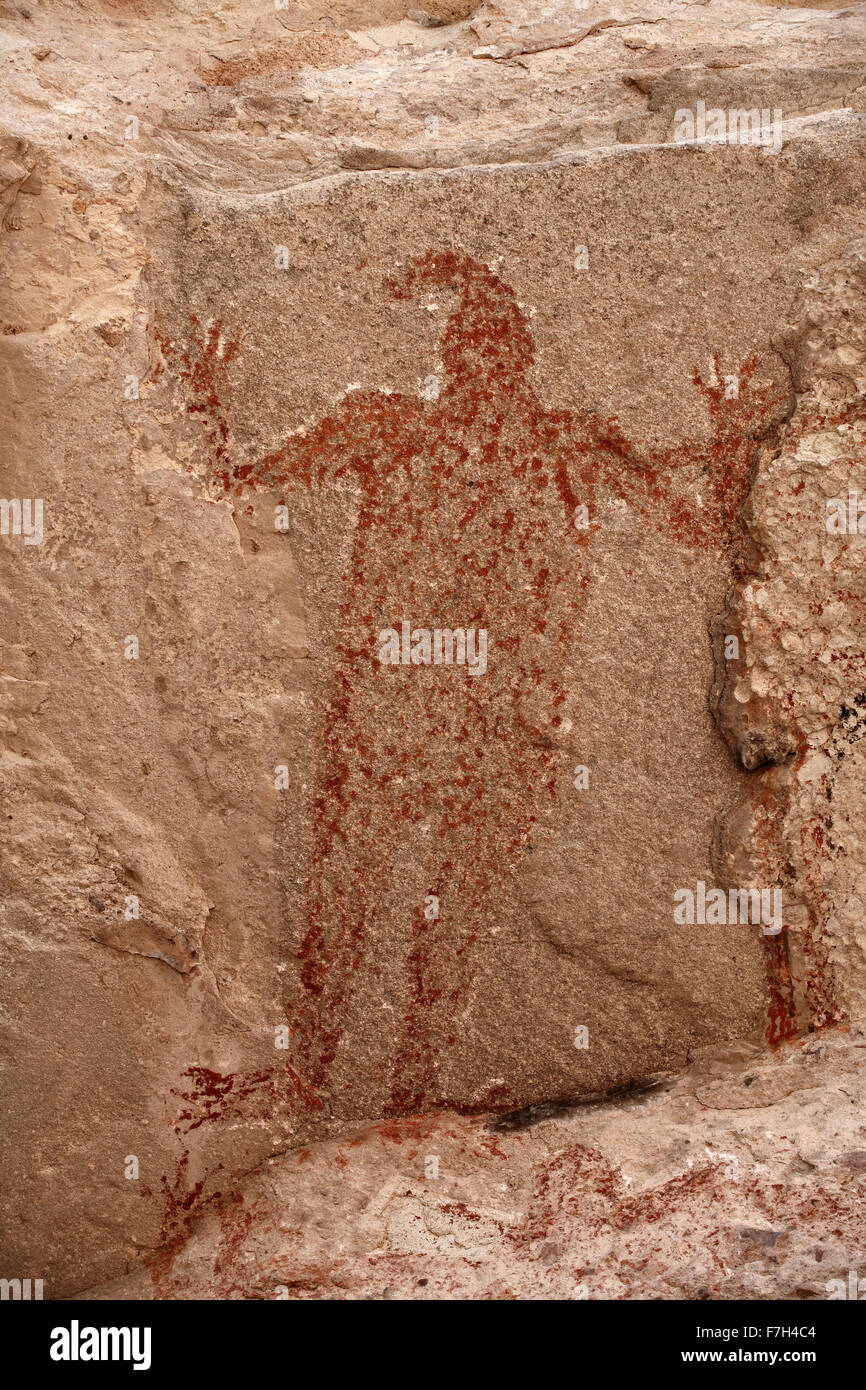 pr5421-D. petroglyphs and rock paintings of Santa Marta, which depict people, animals (deer, rabbits, fish, more). - Stock Image