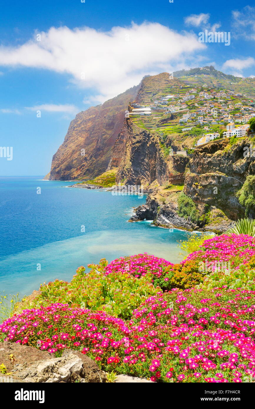 View at Cabo Girao (580 m highest) cliff - Camara de Lobos, Madeira Island, Portugal - Stock Image