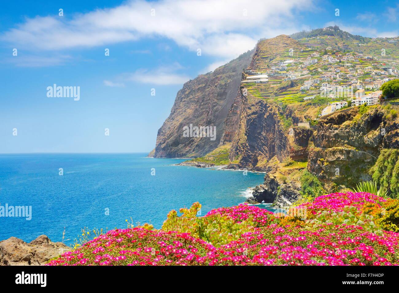 Landscape with Cabo Girao (580 m highest) cliff - Camara de Lobos, Madeira Island, Portugal - Stock Image