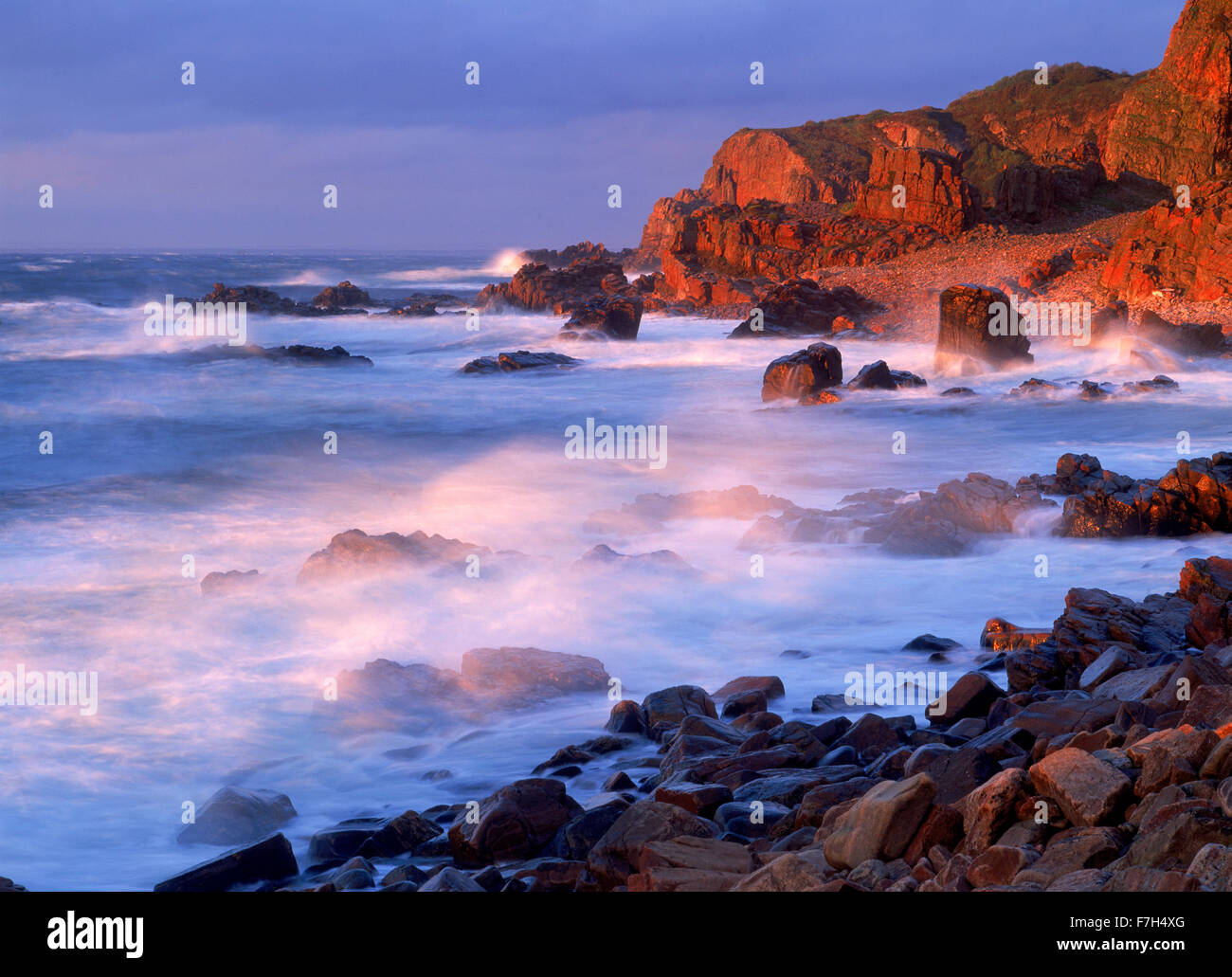 Stormy sunset at Hovs Haller on West Coast of Sweden Stock Photo