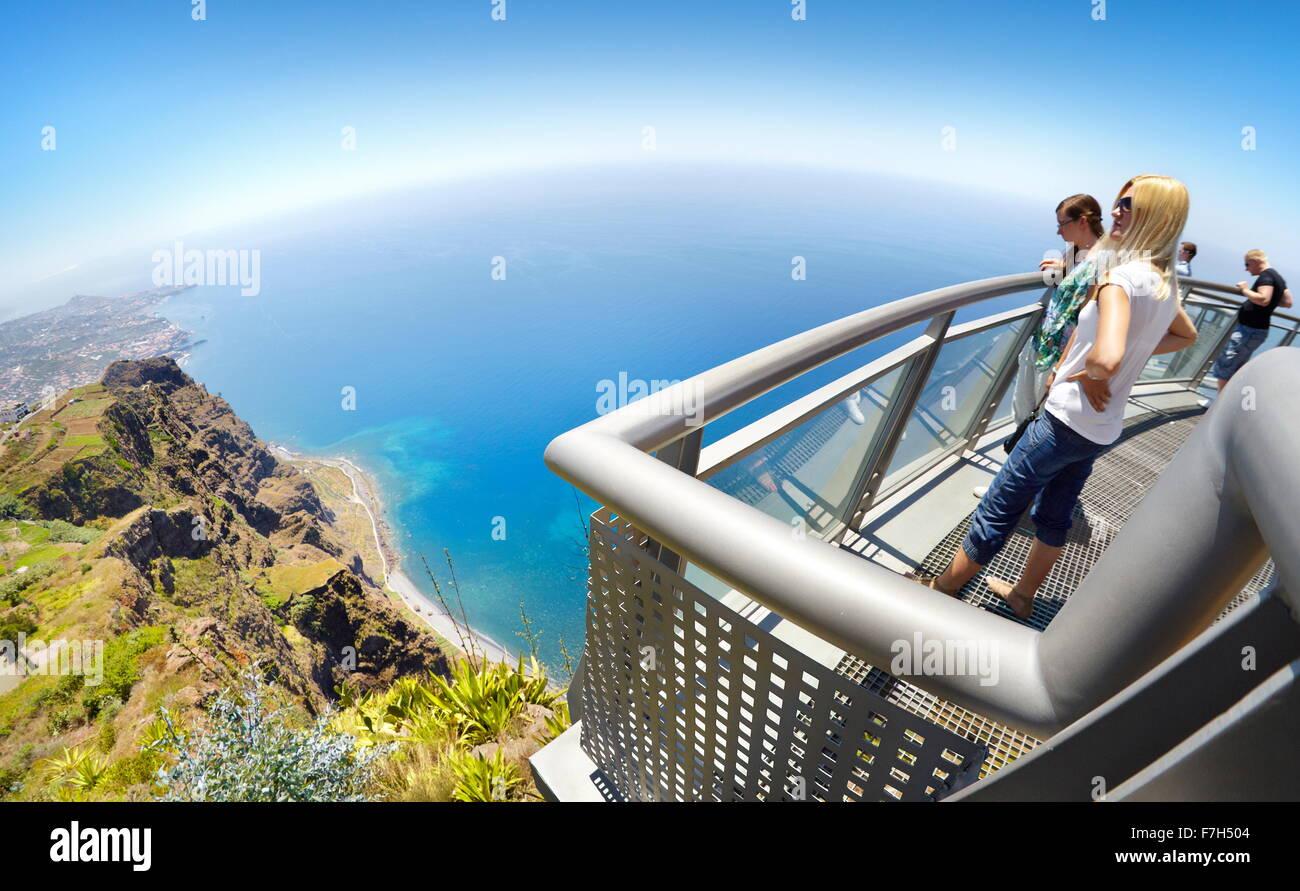 At the top of Cabo Girao (580 m highest) cliff - Camara de Lobos, Madeira Island, Portugal - Stock Image