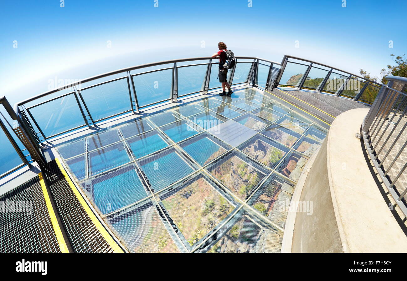 Panoramic terrace with glass floor at the top of Cabo Girao (580 m highest) cliff - Camara de Lobos, Madeira Island, - Stock Image