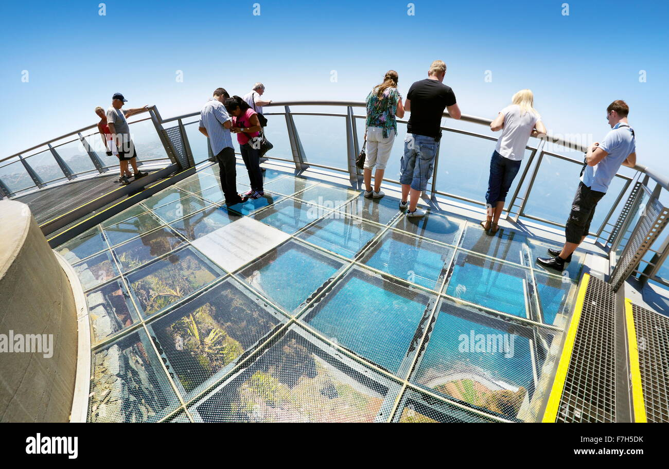 Panoramic terrace (with glass floor) at the top of Cabo Girao (580 m highest) cliff - Camara de Lobos, Madeira Island, - Stock Image