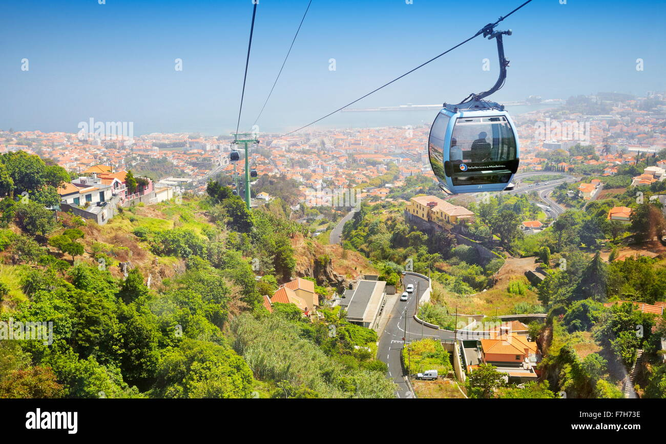 Cable car to Monte, Funchal, Madeira Island, Portugal - Stock Image