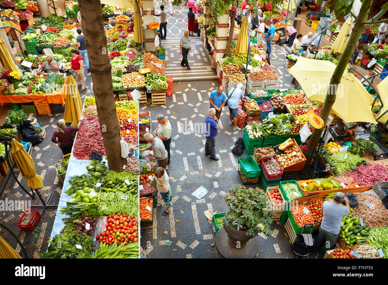 Mercado dos lavradores, fresh fruit and vegetables in the Funchal market, Madeira island, Portugal - Stock Image