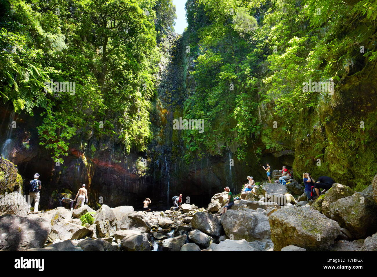 Tourists resting at the Levada 25 fountains, Rabacal, Madeira Island, Portugal - Stock Image