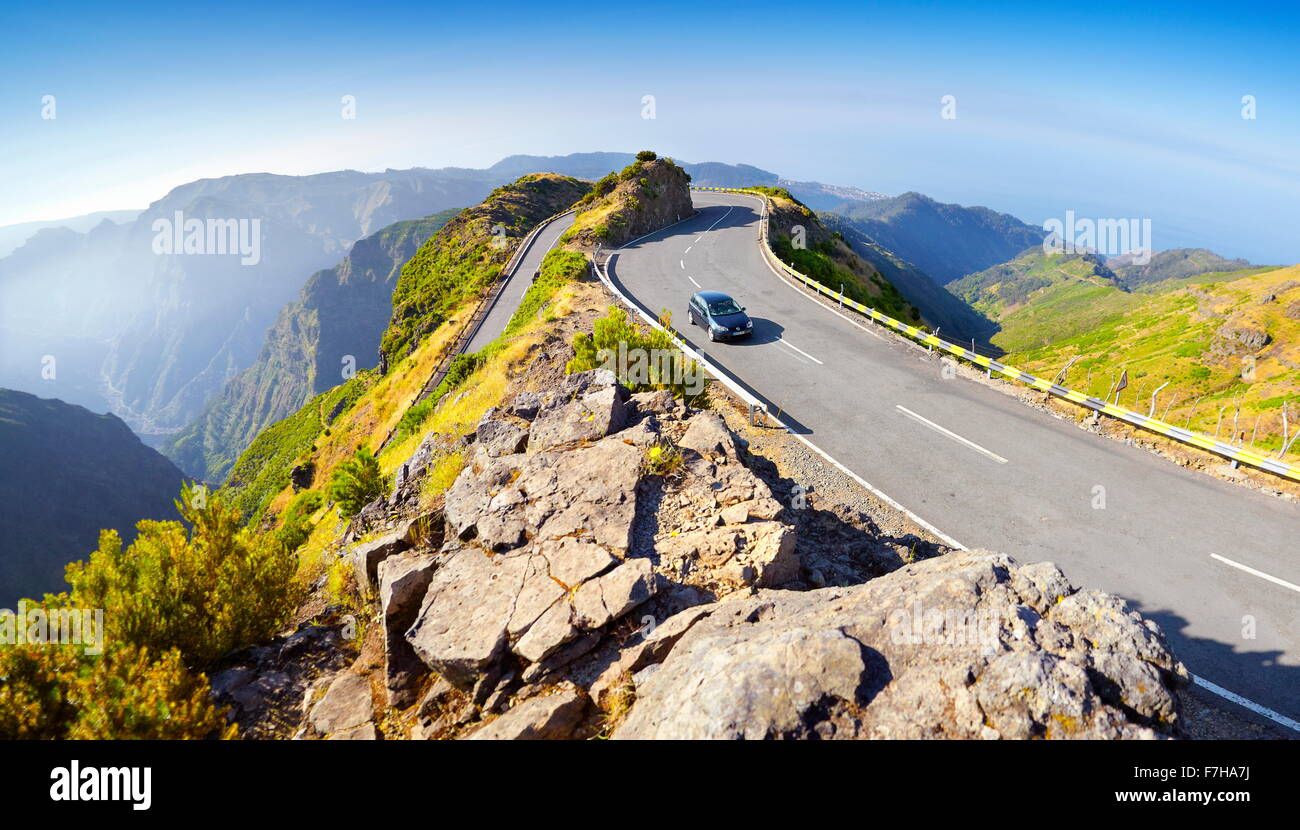 Madeira - mountains landscape with alpine road from Encumenada Pass to Paul da Serra plateau, Madeira, Portugal - Stock Image