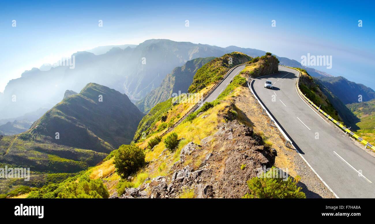 Alpine road from Encumeada Pass to plateau Paul da Serra, Madeira Island, Portugal - Stock Image