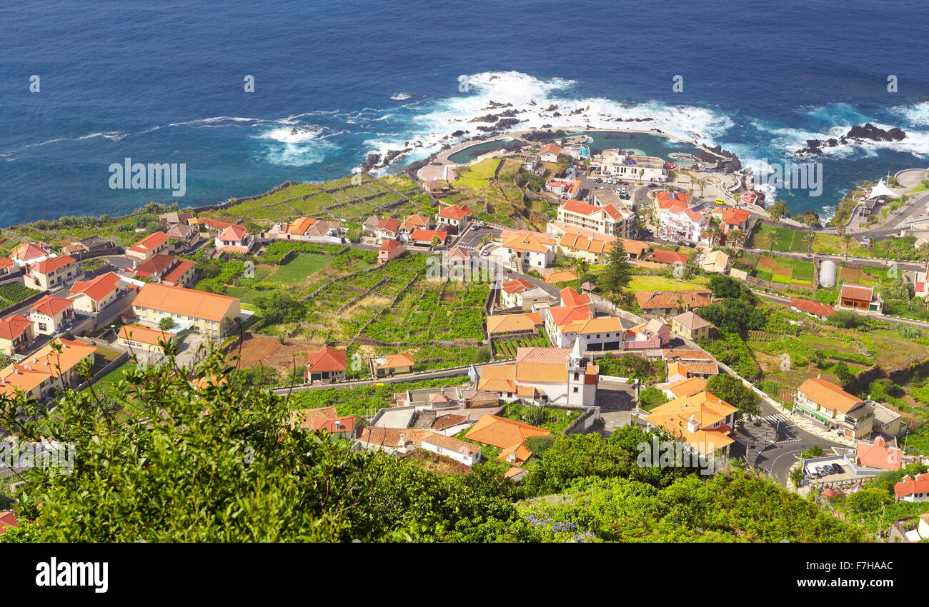 Aerial view of Porto Moniz, Madeira Island, Portugal - Stock Image