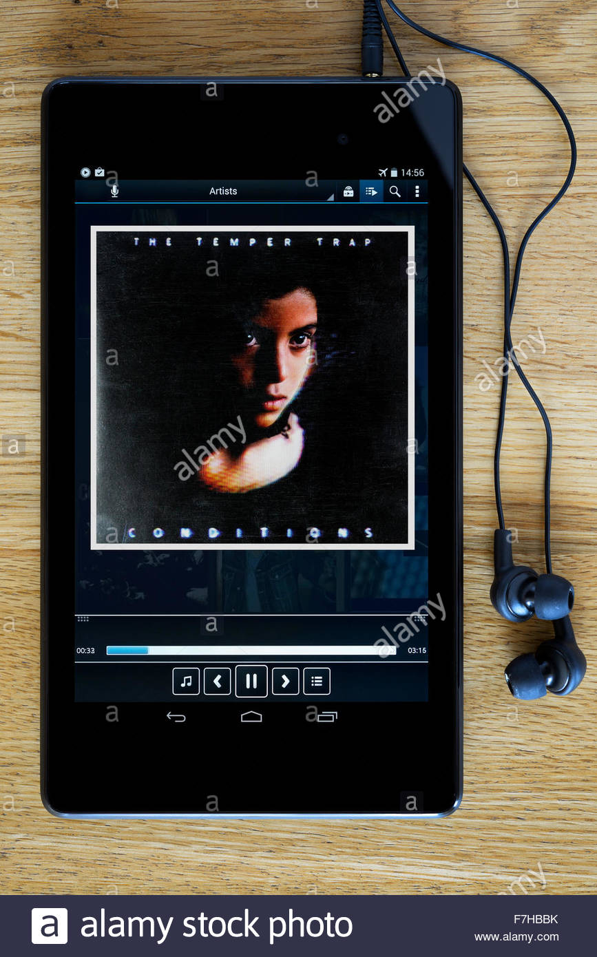 The Temper Trap 2009 debut album Conditions, MP3 album art on PC tablet, England - Stock Image