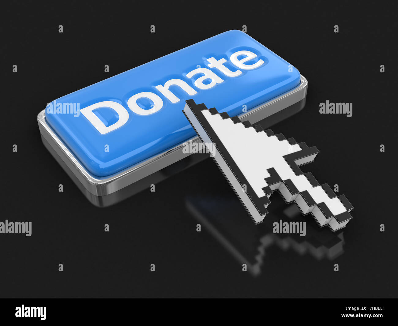 Cursor and button Donate. Image with clipping path - Stock Image