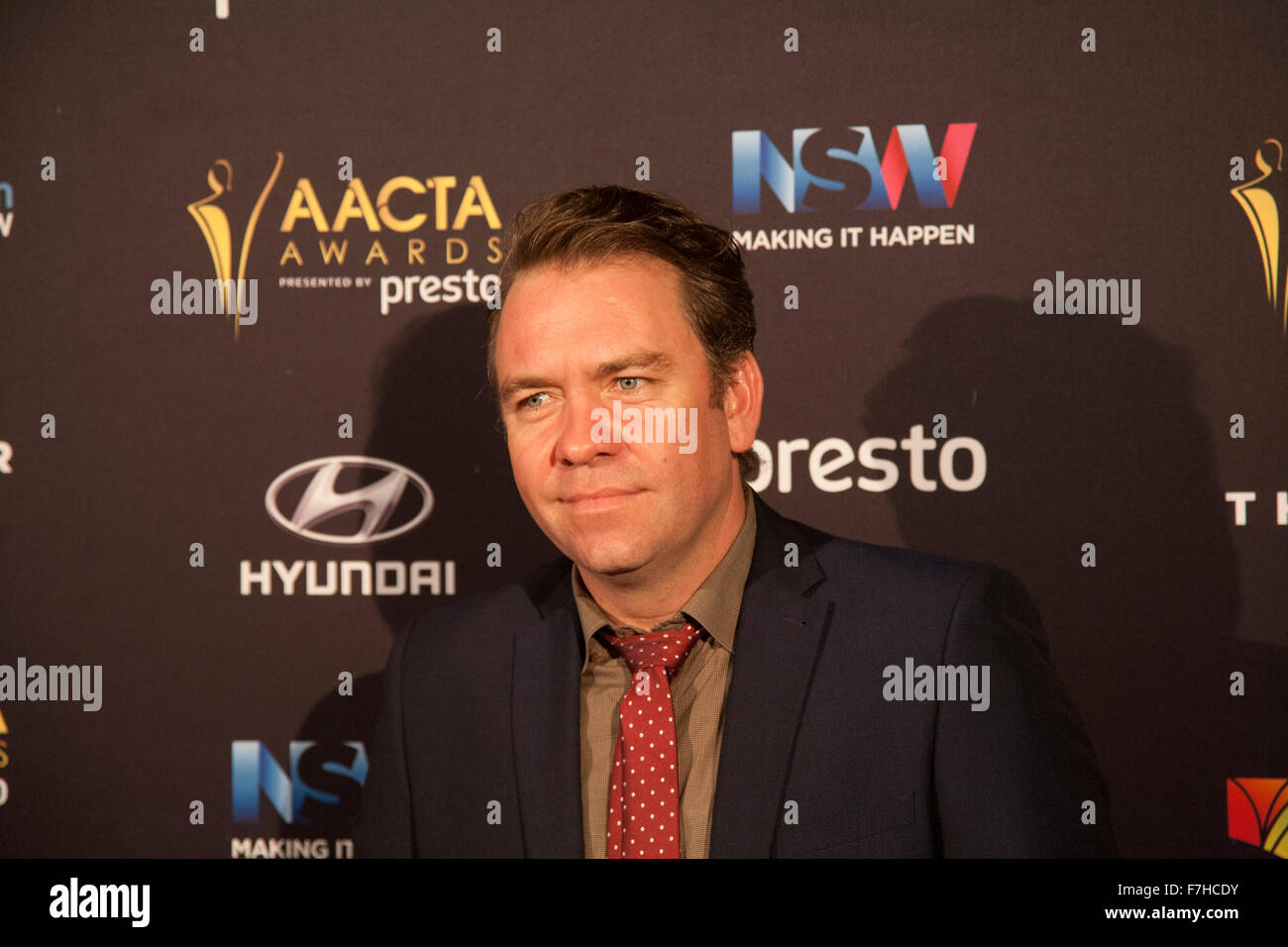 Brandan Cowell arrives on the red carpet ahead of the 5th AACTA Awards Industry Dinner. Sydney - Stock Image