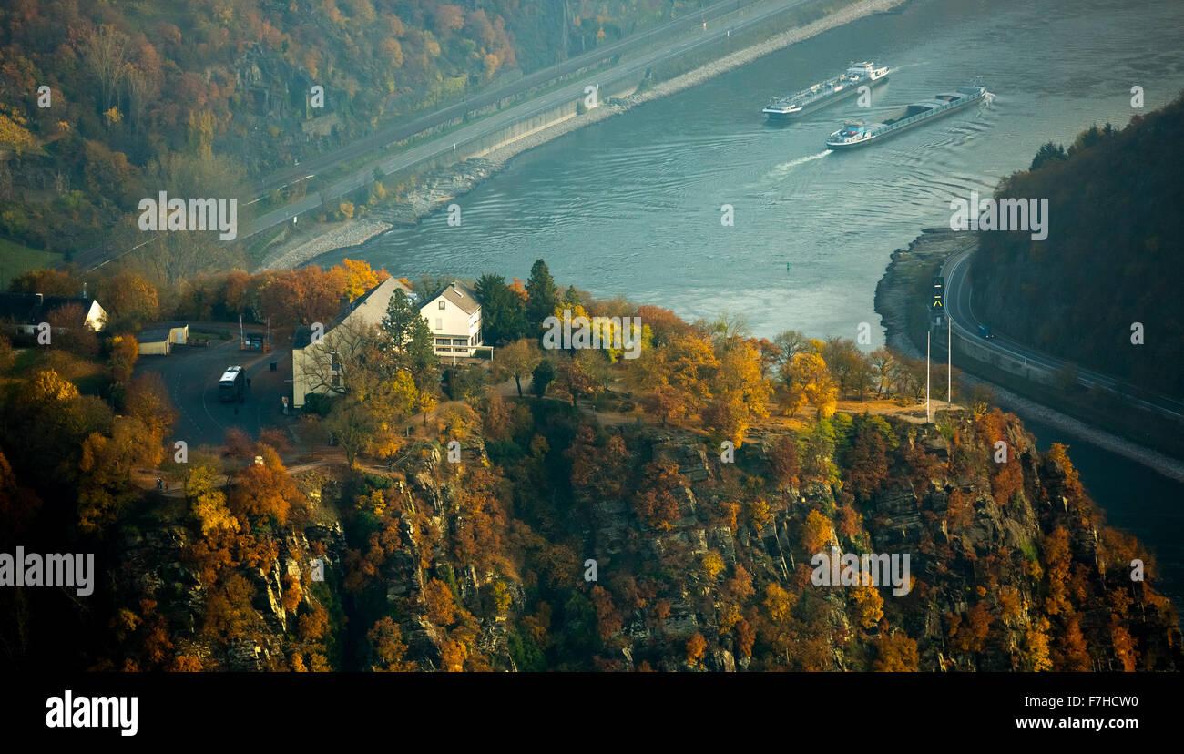 The Loreley, Lorelei rock, shale rock in the UNESCO World Heritage Upper Middle Rhine Valley in Sankt Goarshausen, - Stock Image