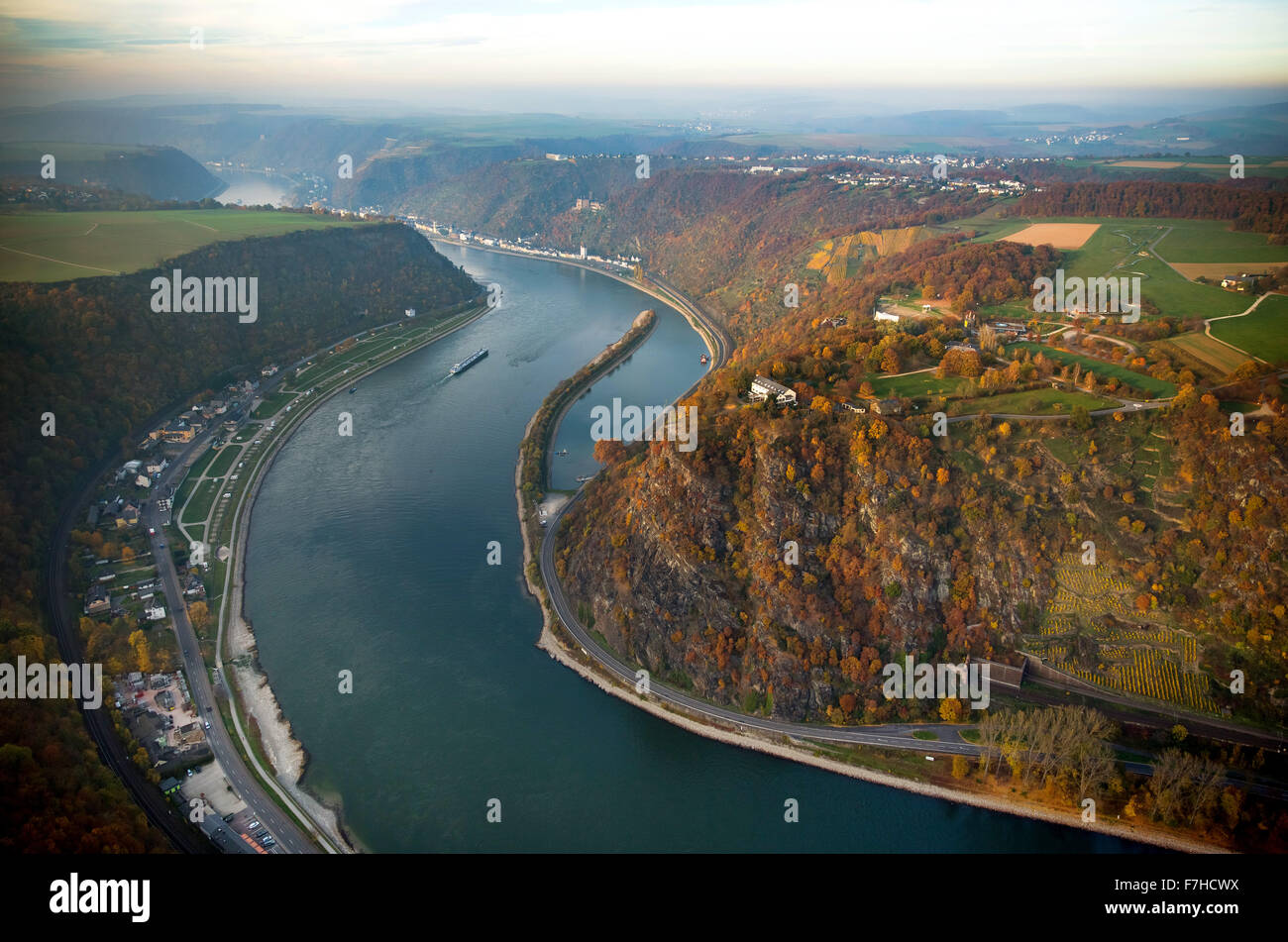 The Loreley, Lorelei rock, shale rock in the UNESCO World Heritage Upper Middle Rhine Valley in Sankt Goarshausen, Stock Photo