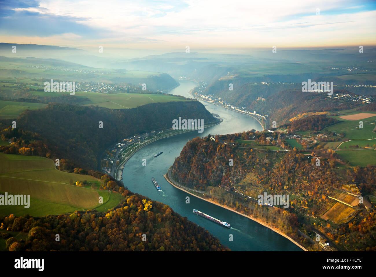 The Loreley, Lorelei rock, shale rock in the UNESCO World Heritage Upper Middle Rhine Valley in Sankt Goarshausen, Stock Photo