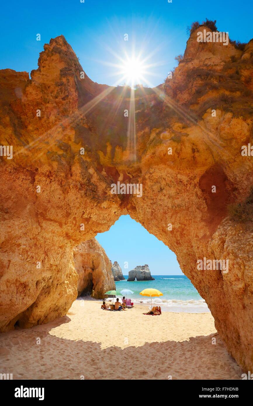 Rocks on the Prainha Beach near Alvor, Algarve, Portugal - Stock Image