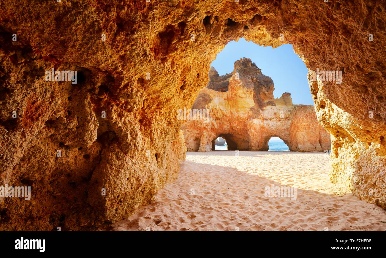 The cave on the Prainha Beach near Alvor, Algarve, Portugal Stock Photo