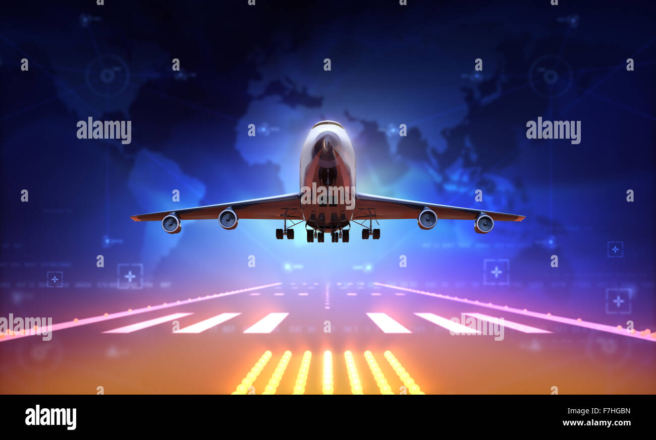 3d Airplane over runway - Stock Image