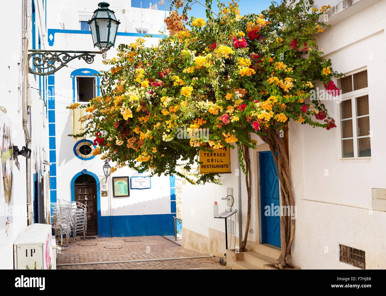Blooming flowers at Albufeira old town, Algarve, Portugal - Stock Image