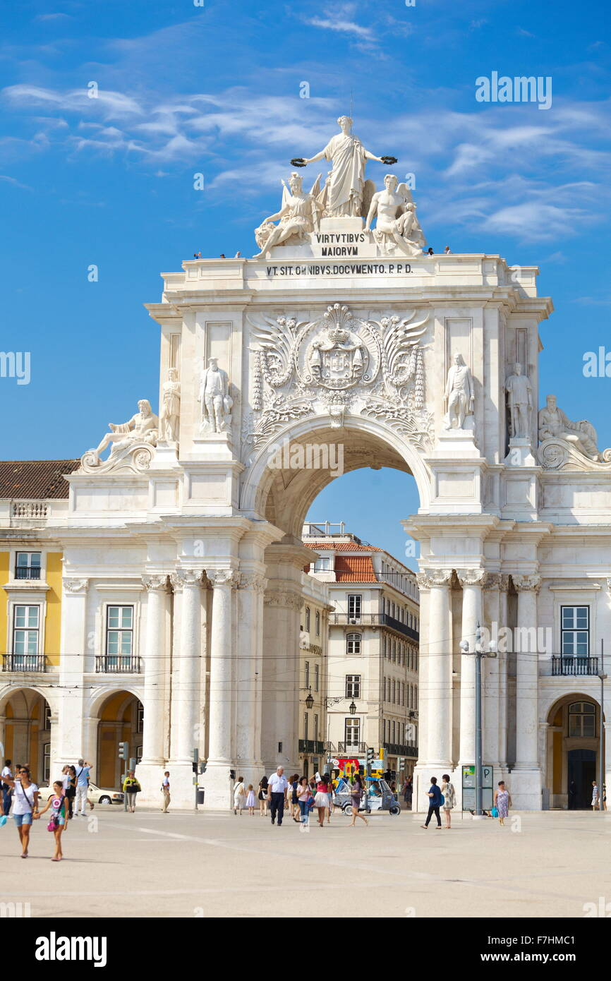 Commerce Square (Praca do Comercio), Lisbon, Portugal - Stock Image