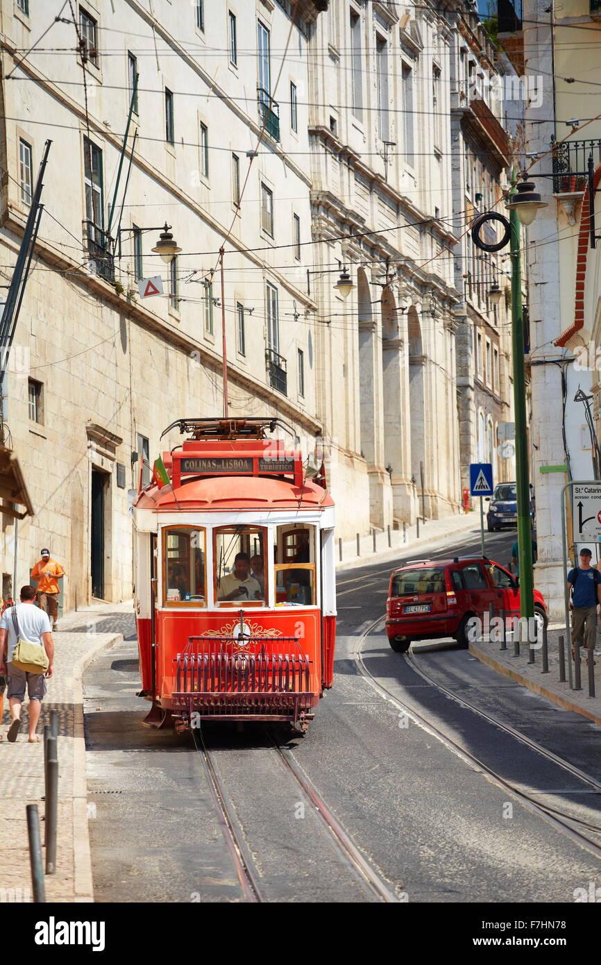 Lisbon transport Tram, Portugal - Stock Image