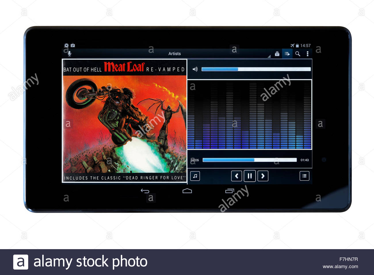 Meat Loaf Bat at of hell MP3 album art on PC tablet, England - Stock Image