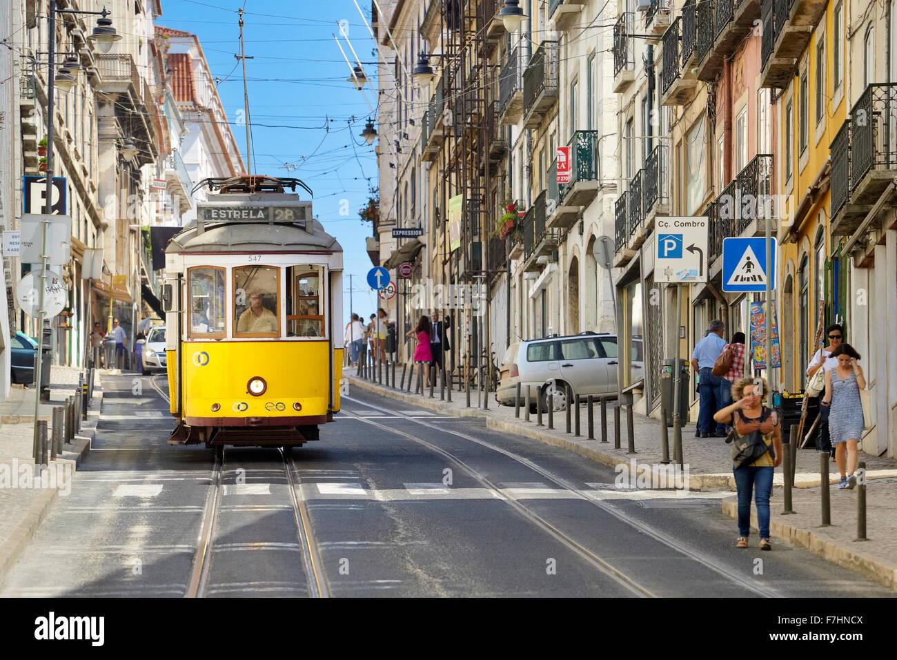 POpular transport in Lisbon - Tram 28, Portugal - Stock Image