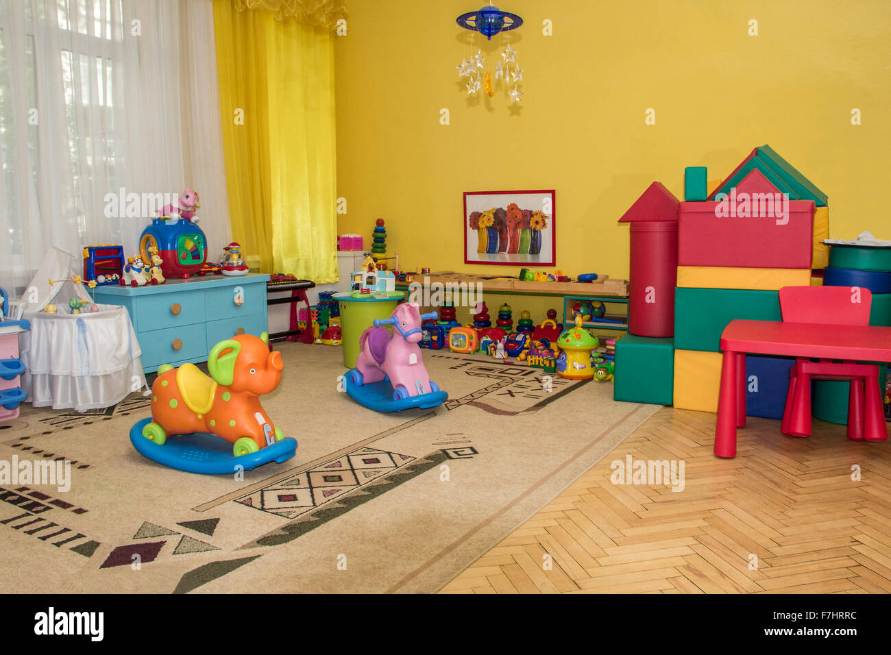 play area with lots of toys in kindergarden stock image - Kinder Garden