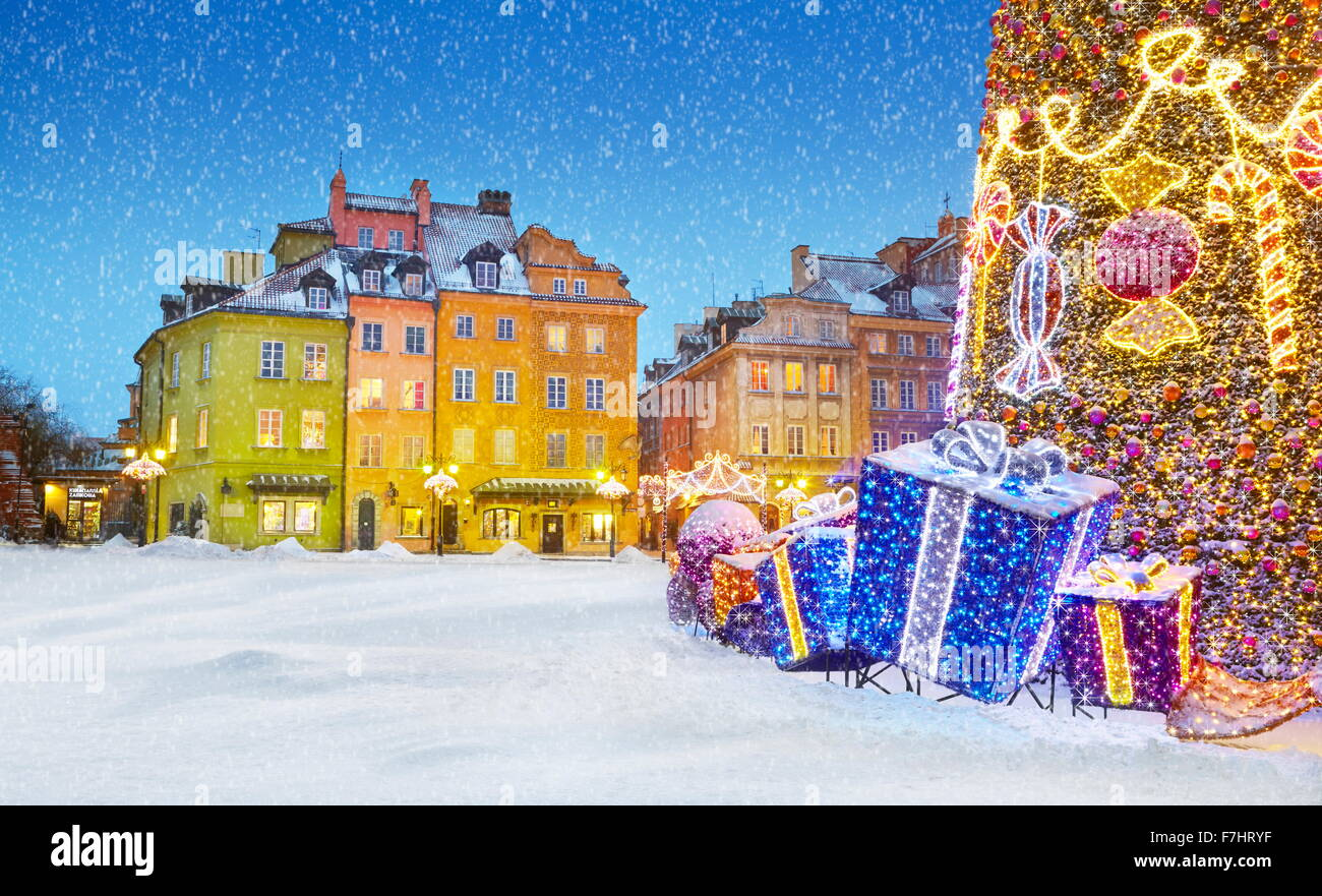 Outdoor winter snow christmas tree decoration , Warsaw, Poland - Stock Image