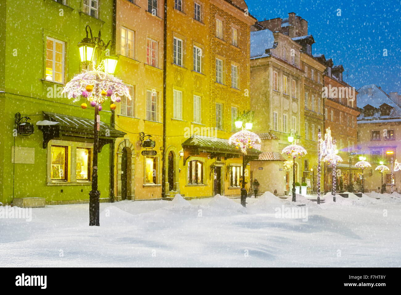 Outdoor winter snow christmas decoration, Warsaw, Poland - Stock Image