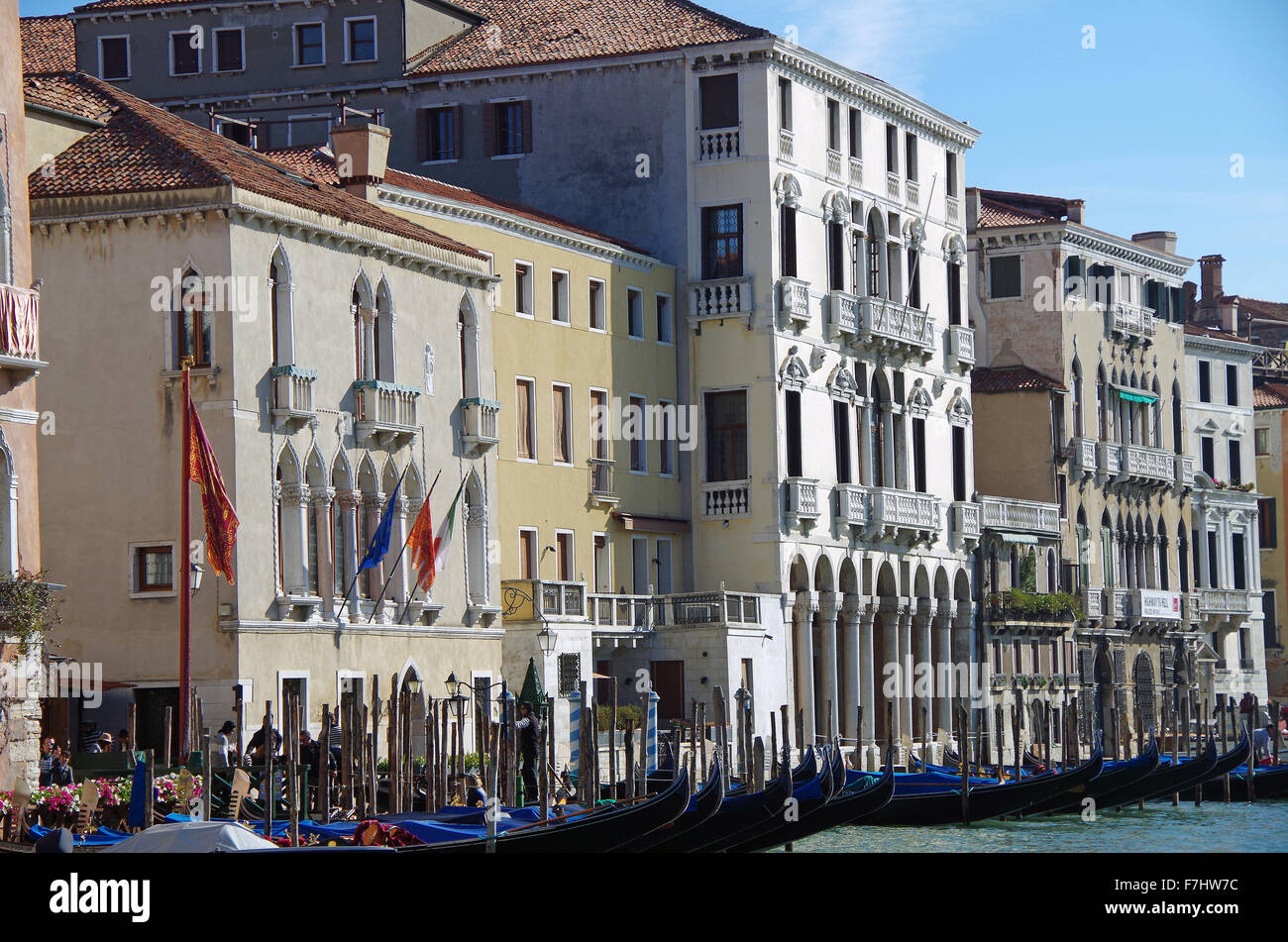 Group of Palazzi centred on the four storey Palazzo Michiel Della Colonne, on the Grand Canal in Venice, Italy. - Stock Image