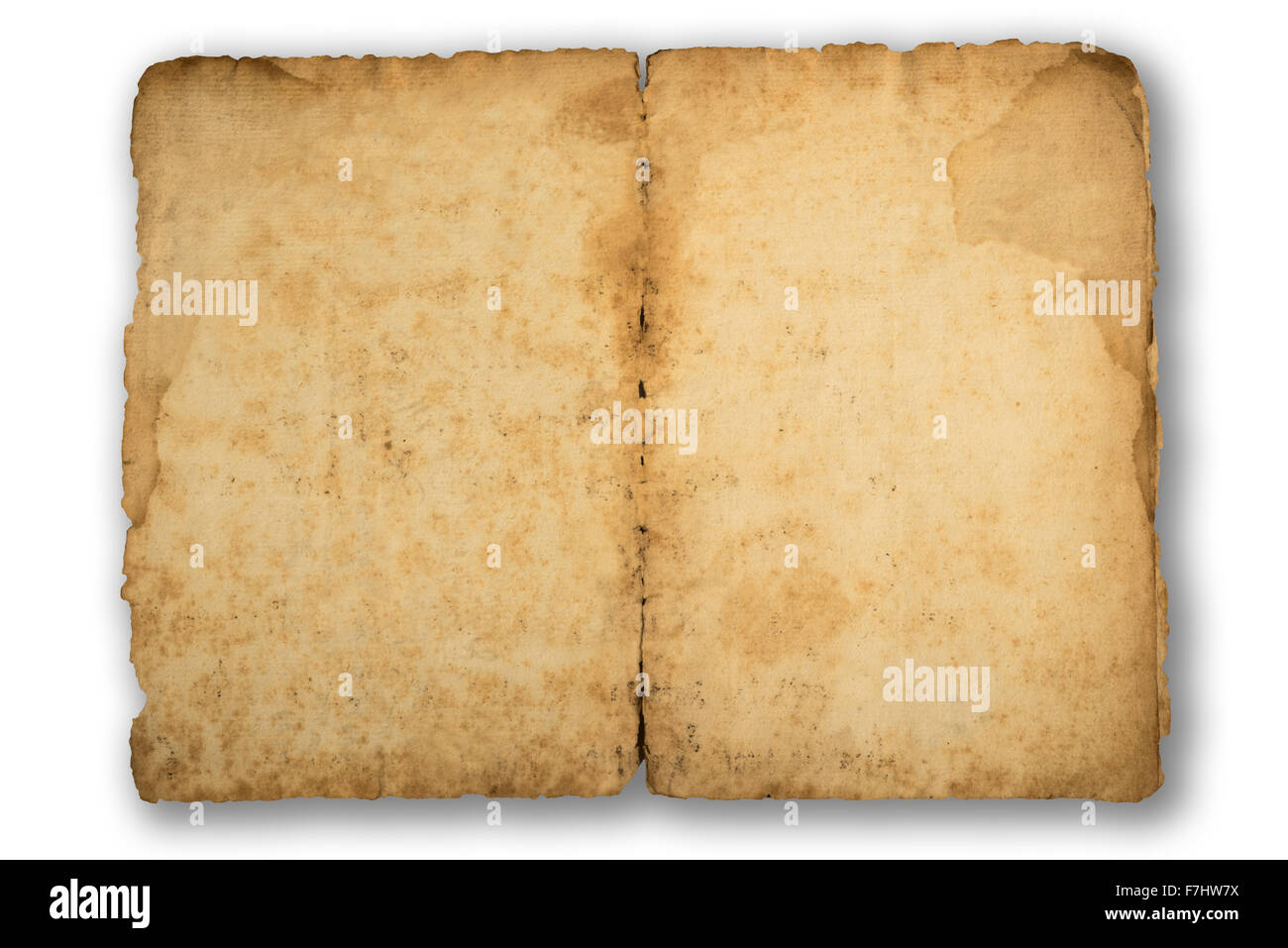 old   vintage sheet  isolated on white background - Stock Image