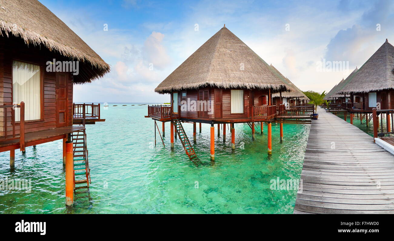 Bungalows at Maldives Island - Stock Image