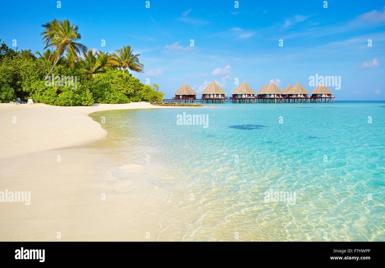 Tropical Beach at Maldives Islands, Ari Atoll - Stock Image