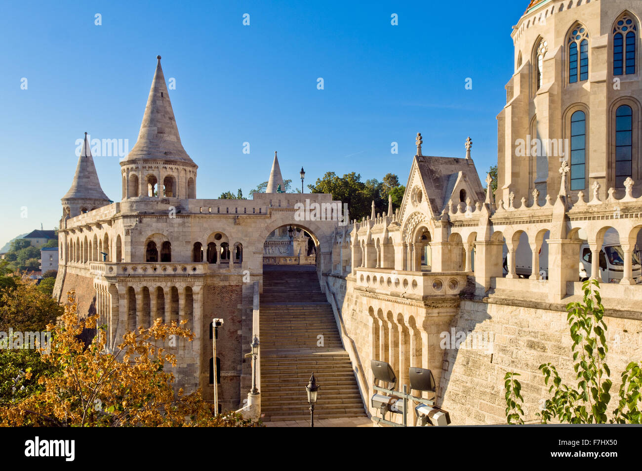 Fisherman's Bastion in Buda Castle, Budapest, Hungary - Stock Image