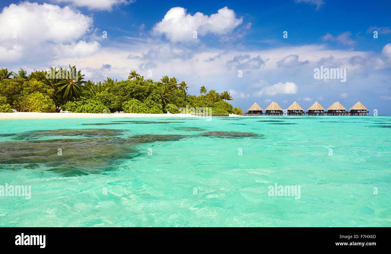 Tropical landscape at Maldives Islands, Ari Atoll - Stock Image