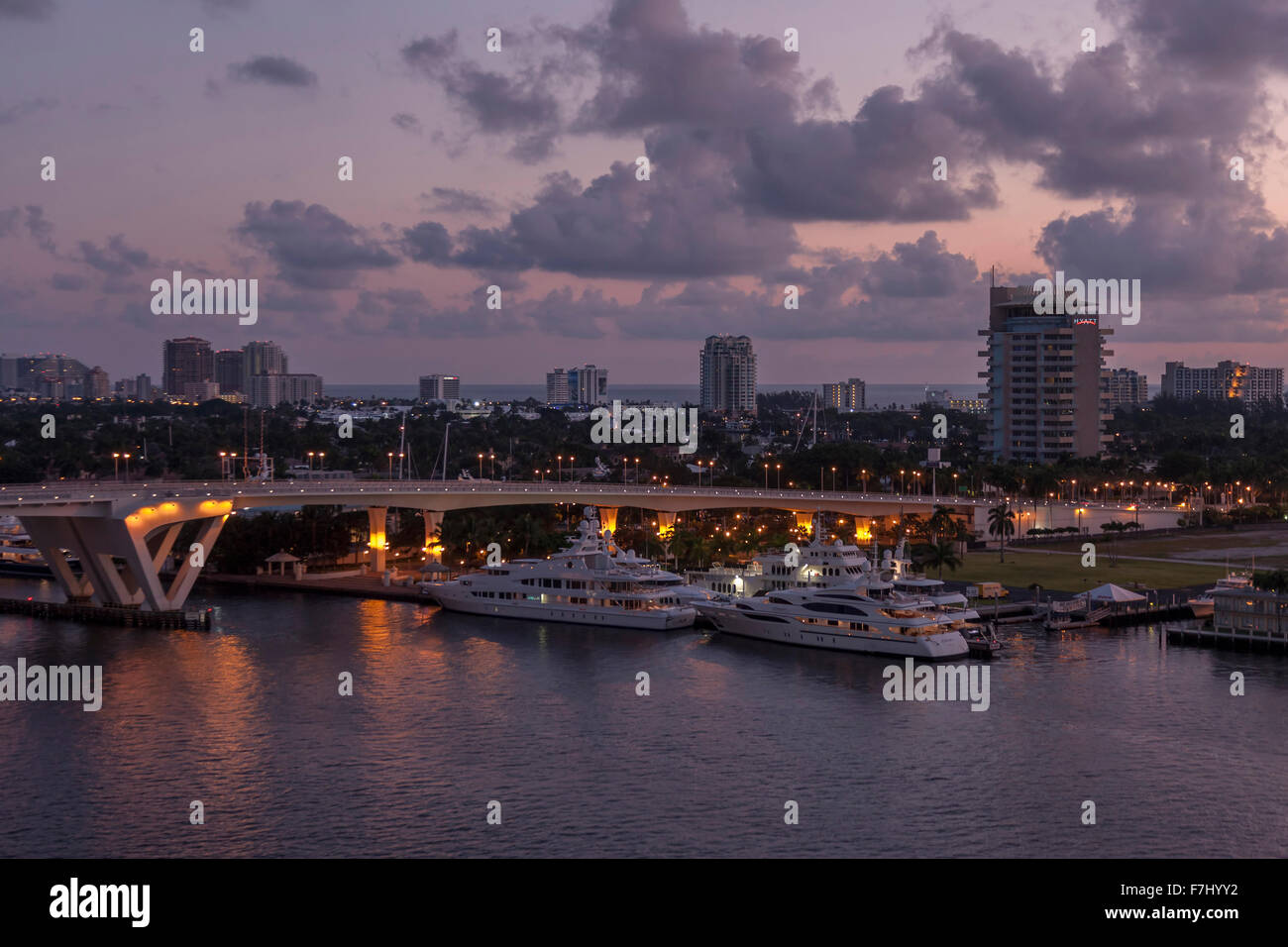 Motor cruises moored at sunrise in Port Everglades, Fort Lauderdale Florida Stock Photo