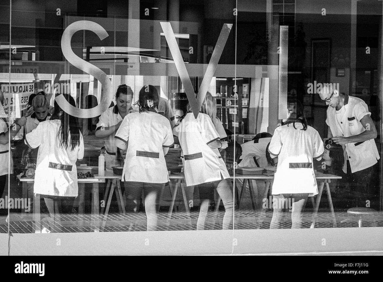 Benidorm, Spain, hairdressing college student trainees working  on clients viewed through large window - Stock Image