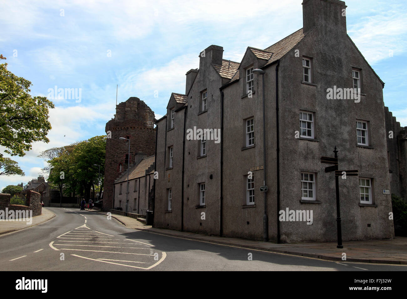 Palace Road with Bishop's Palace in the background, Kirkwall Orkney Islands Scotland UK - Stock Image