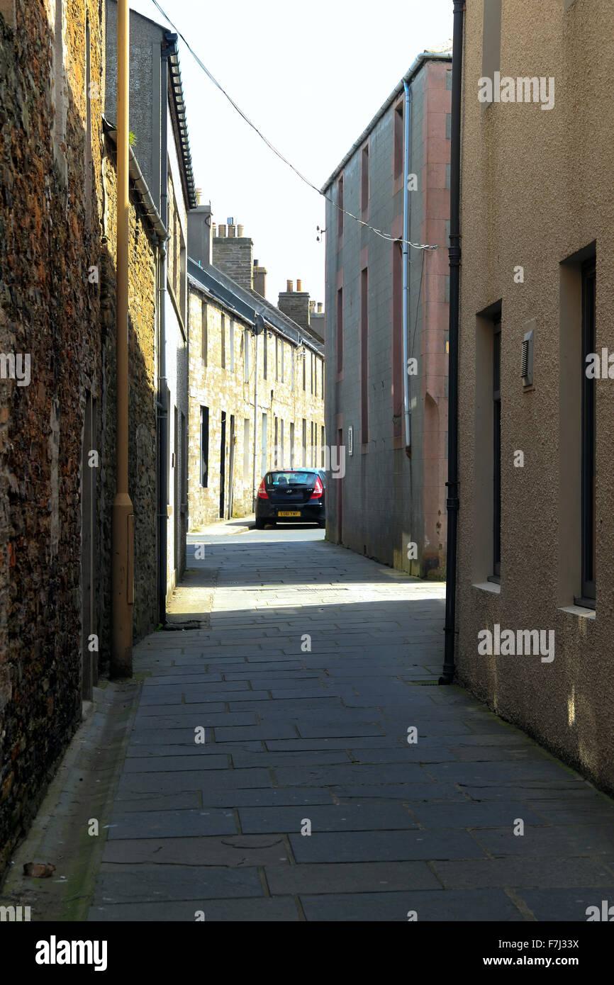 Narrow street Kirkwall Orkney Islands Scotland UK Stock Photo