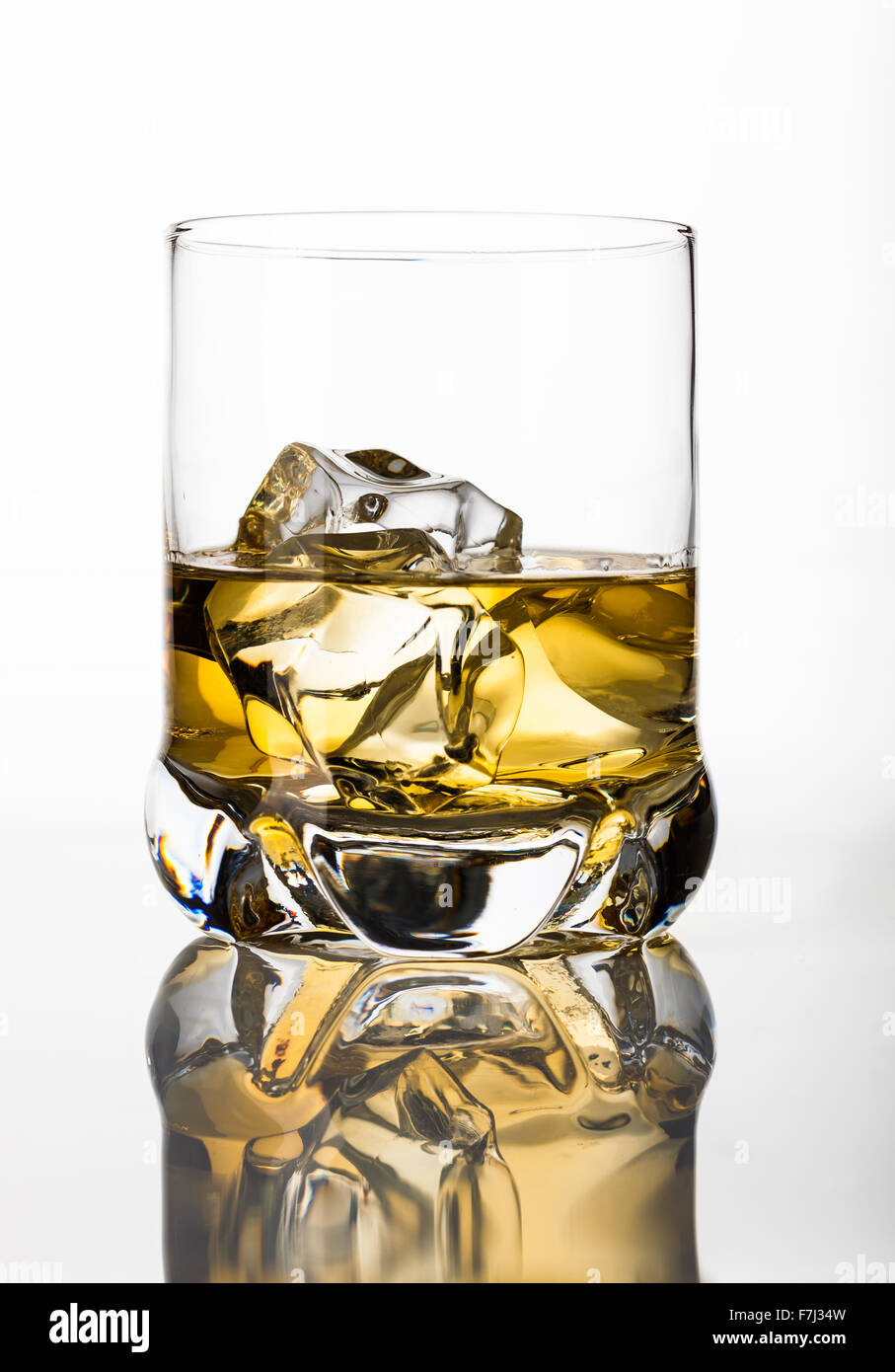Whisky with ice cubes - Stock Image
